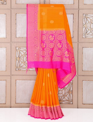Orange and magenta color silk fabric saree