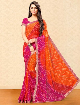 Orange and magenta georgette saree for festival
