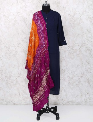 Orange and magenta hue gajji silk dupatta