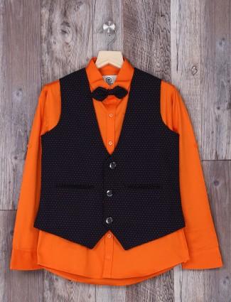 Orange and navy printed waistcoat