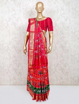 Orange and pink hydrabadi patol silk saree for reception wear