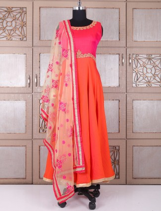 Orange and pink silk anarkali suit