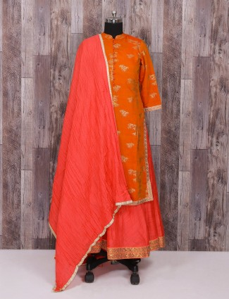 Orange and pink silk long suit