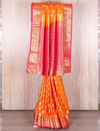 Orange and pink silk saree