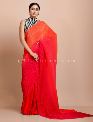 Orange and red celebrity style satin ready made blouse saree