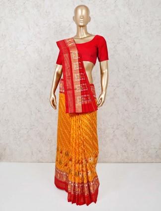 Orange and red ikat thread weaving Hyderabadi patola silk festive saree