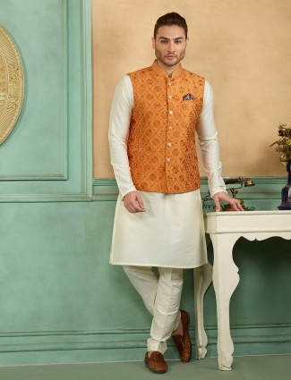 Orange and white color terry rayon waistcoat set