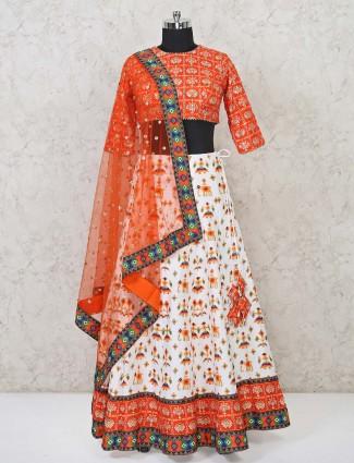 Orange and white patola lehenga choli