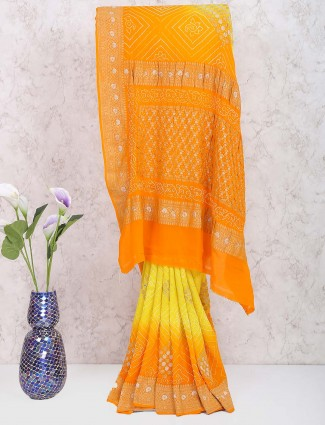 Orange and yellow gharchola shaded georgette saree