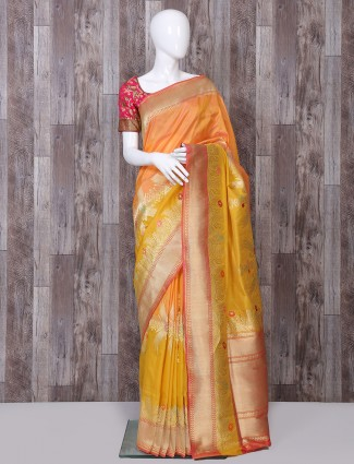 Orange and yellow two tone pure banarasi silk saree
