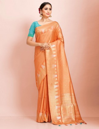 Orange art kanjivaram silk saree in wedding function