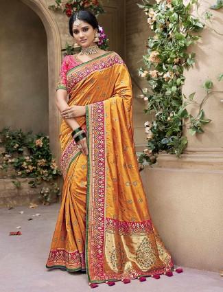 Orange banarasi silk fabric saree