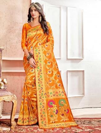 Orange banarasi silk saree for wedding function