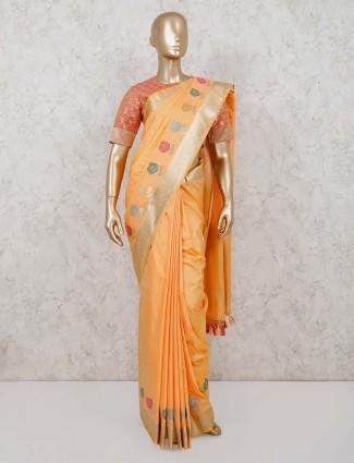 Orange banarasi silk saree with readymade blouse