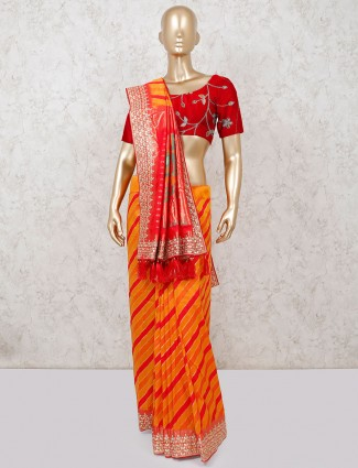 Orange banarasi silk wedding function saree