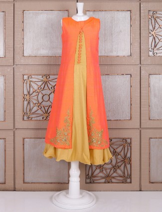 Orange beige double layred gown