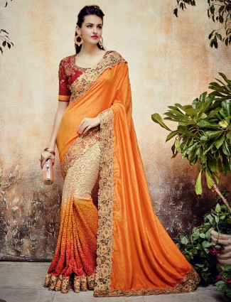 Orange beige silk half and half saree