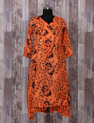 Orange casual printed kurti