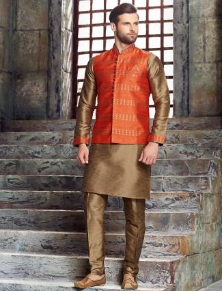 Orange classy raw silk waistcoat set