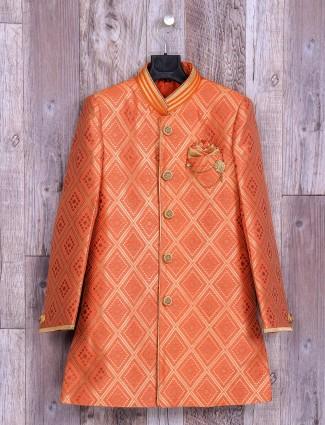 Orange classy wedding wear indo western