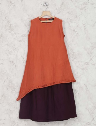 Orange color cotton festive dress