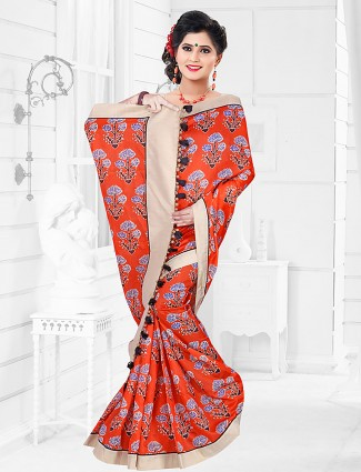 Orange color cotton festive saree