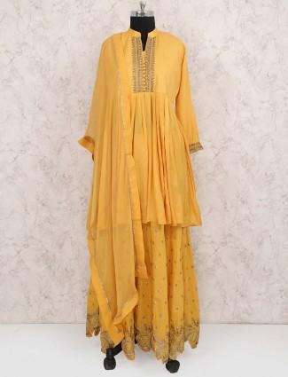 Orange color cotton lehenga cum salwar suit