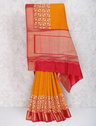 Orange color cotton silk fabric festive saree