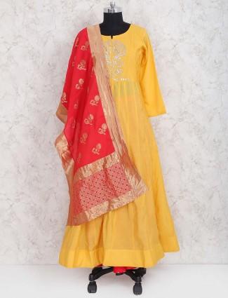 Orange color cotton silk pakistani anarkali salwar suit