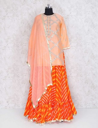 Orange color cotton silk lehenga cum salwar suit