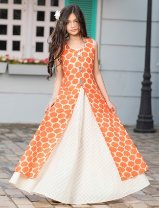 Orange color gown style dress for festive wear