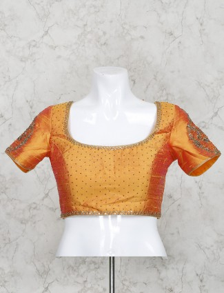 Orange color half sleeves raw silk ready made blouse