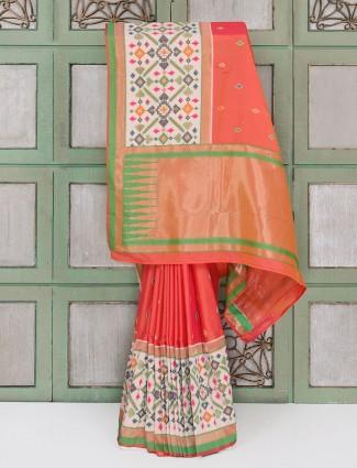 Orange color hyderabadi patola festive wear saree