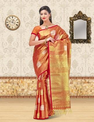 Orange color kanchipuram silk saree