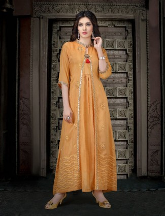Orange color kurti in cotton silk