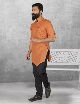 Orange color linen kurta suit for festive