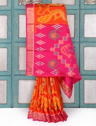 Orange color patola silk fabric saree