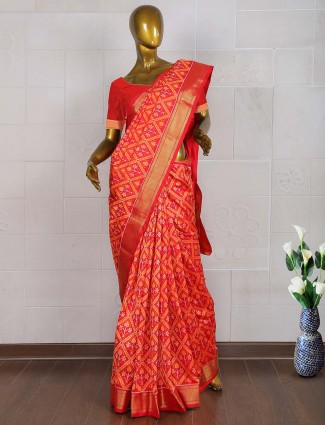 Orange color patola wedding saree