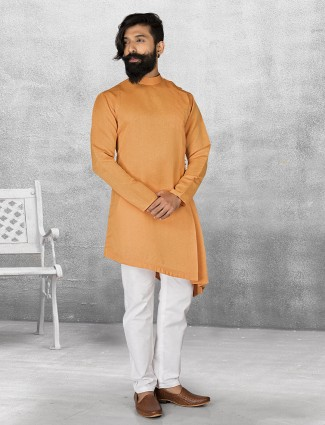 Orange color plain terry rayon kurta suit