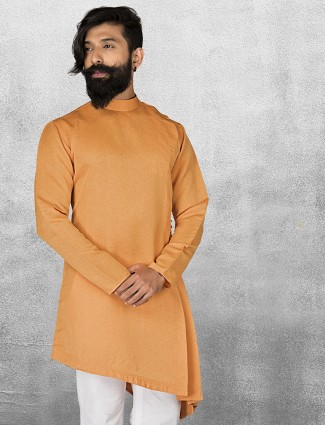 Orange color plain terry rayon short pathani