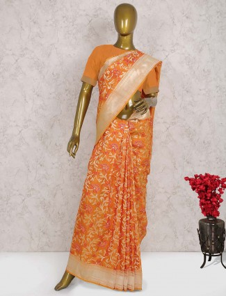 Orange color pure banarasi saree