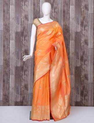 Orange color pure banarasi silk saree for wedding funciton