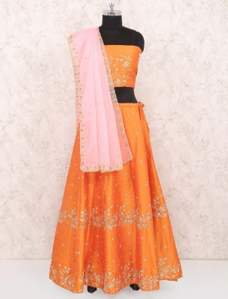 Orange color raw silk semi stitched festive lehenga choli