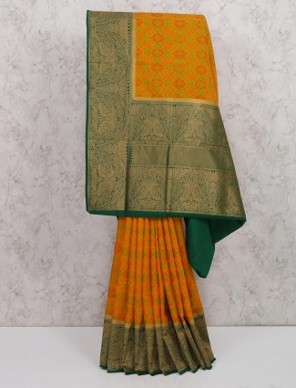 Orange color semi silk fabric festive wear saree
