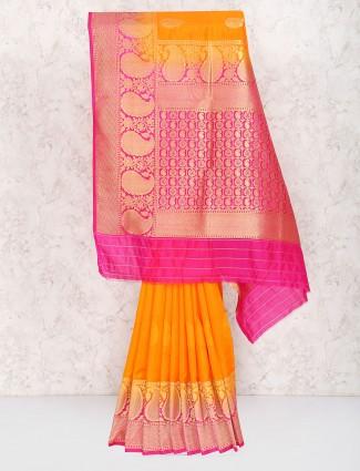 Orange color semi silk sari