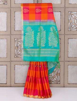 Orange color silk checks pattern saree