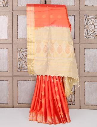 Orange color silk fabric simple saree