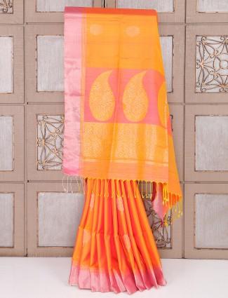 Orange color silk saree simple wedding wear