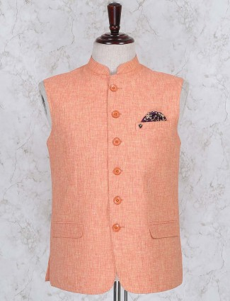 Orange color solid cotton waistcoat