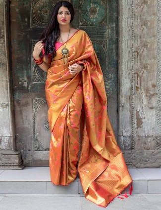 Orange colored kanjivaram silk saree